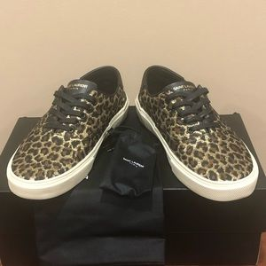 Saint Laurent Skate 20 Lace Up Cheetah Sneakers